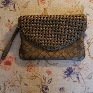 Urban Expressions Leather Woven Clutch Wristlet